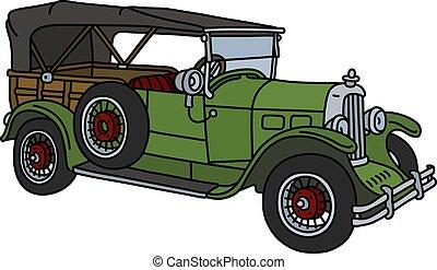 vendange, cabriolet, vert