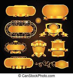 vendange, cadre, arrière-plan noir, or