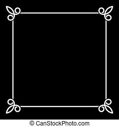 vendange, cadre, arrière-plan., vecteur, noir, blanc, frontière