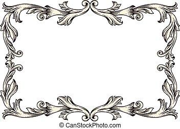 vendange, cadre, (baroque, illustration, vecteur, design), frontière
