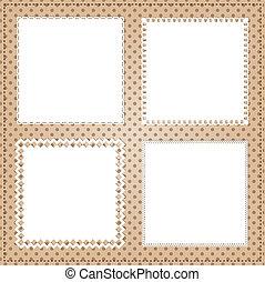 vendange, cadre, carrée, disposition, dentelle