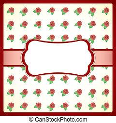 vendange, cadre, dentelle, roses