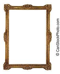 vendange, cadre, doré, image