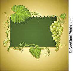 vendange, cadre, feuilles vertes, raisins