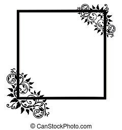 vendange, cadre, fond blanc