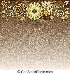 vendange, cadre, gold-drown