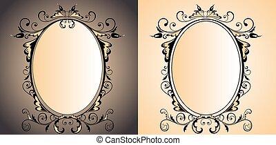 vendange, cadre, miroir