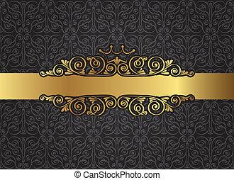 vendange, cadre, noir, or, damassé