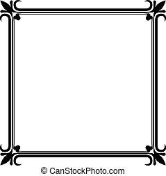 vendange, cadre, vecteur, noir, blanc, template.