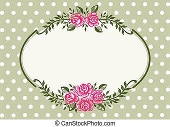 vendange, cadre, vert, roses