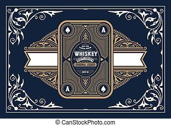 vendange, cadre, vieux, carte