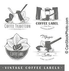 vendange, café, étiquettes, ensemble