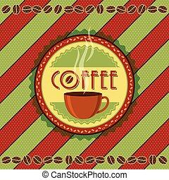 vendange, café, étiquettes