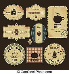 vendange, café, étiquettes, prime