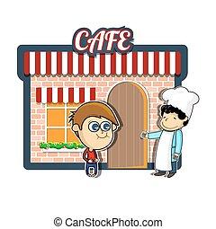 vendange, café, dessin animé, illustration