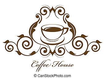 vendange, café, vecteur, icône
