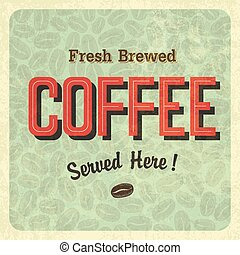 vendange, café, vecteur, poster.
