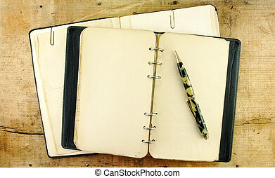 vendange, cahier, et, stylo