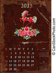 vendange, calendrier, avril, retro, 2013