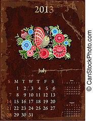 vendange, calendrier, juillet, retro, 2013