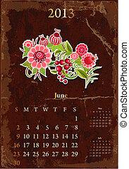 vendange, calendrier, juin, retro, 2013