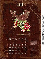 vendange, calendrier, mars, retro, 2013