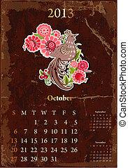 vendange, calendrier, octobre, retro, 2013