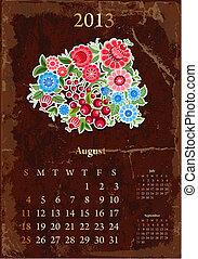 vendange, calendrier, retro, août, 2013