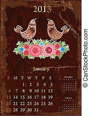 vendange, calendrier, retro, janvier, 2013
