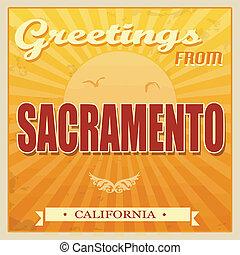 vendange, californie, sacramento, affiche