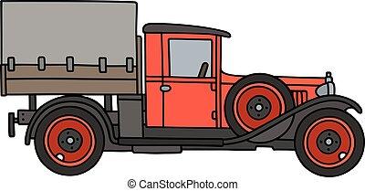 vendange, camion, rouges