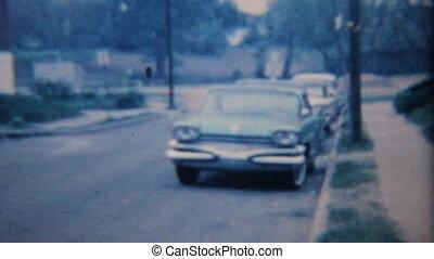 vendange, car-1964, vieux, pellicule, 8mm