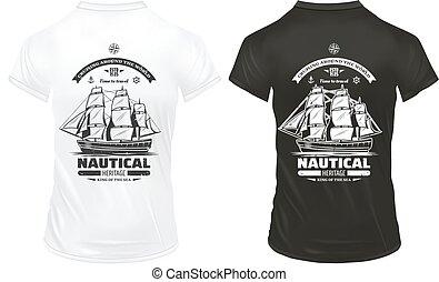 vendange, caractères, marin, gabarit, nautique