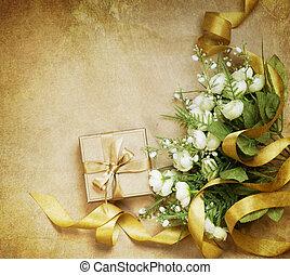 vendange, card., salutation, fond, valentin