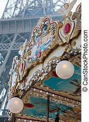vendange, carrousel, près, tour eiffel, dans, paris