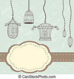 vendange, carte, cages oiseaux