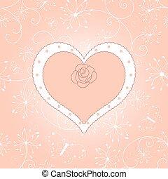 vendange, carte, salutation, floral