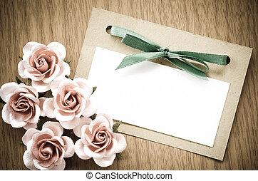 vendange, carte voeux, et, rose, flower.