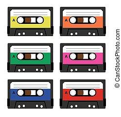 vendange, cassette, bandes