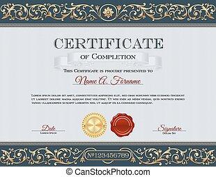 vendange, certificat, de, achèvement