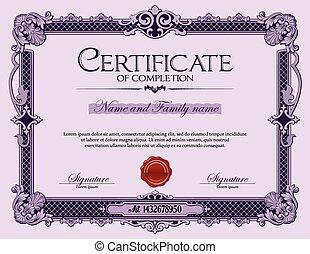vendange, certificat, de, completion.