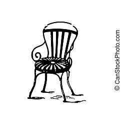 vendange, chaise, métal