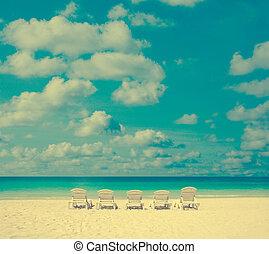 vendange, chaise, plage