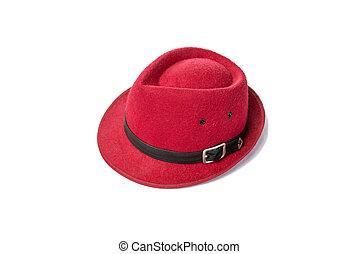 vendange, chapeau blanc, arrière-plan rouge