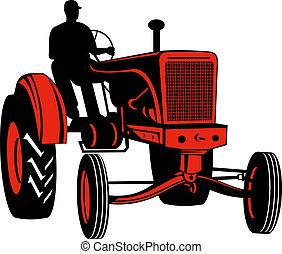 vendange, chauffeur, rouges, devant, tracteur, vue