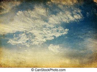 vendange, ciel, arrière-plan., coucher soleil, retro, ...