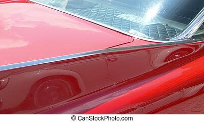 vendange, classique, brillant, voiture rouge