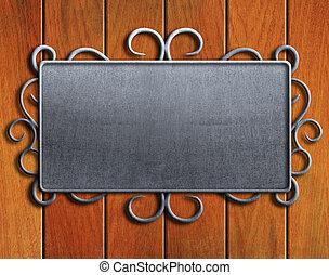 vendange, cliché métal, sur, vieux, chêne, porte