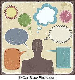 vendange, clipart, de, homme, à, parole, bubbles., vecteur