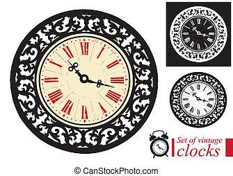 vendange, clocks, ensemble